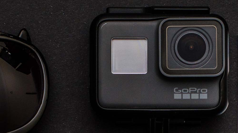 GoPro action camera met zwarte achtergrond